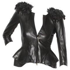 Alexander McQueen Fringe Shoulder Leather Jacket