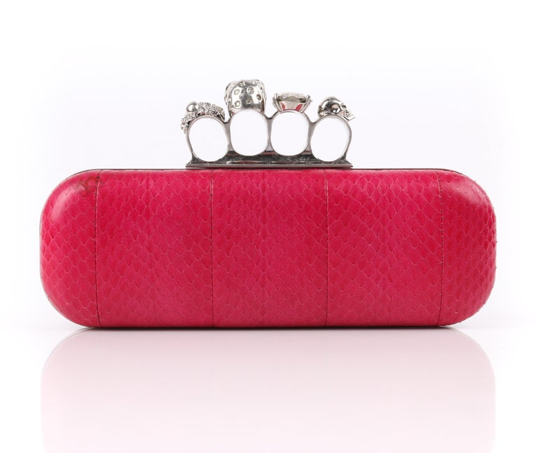 Women's ALEXANDER McQUEEN Fuchsia Pink Python Crystal Knuckle-Duster Box Clutch  For Sale