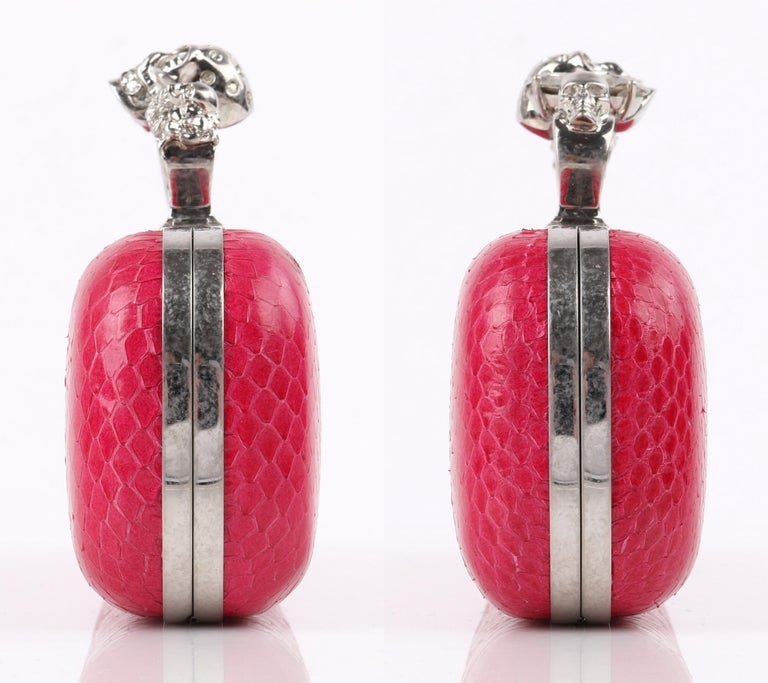 ALEXANDER McQUEEN Fuchsia Pink Python Crystal Knuckle-Duster Box Clutch  For Sale 1
