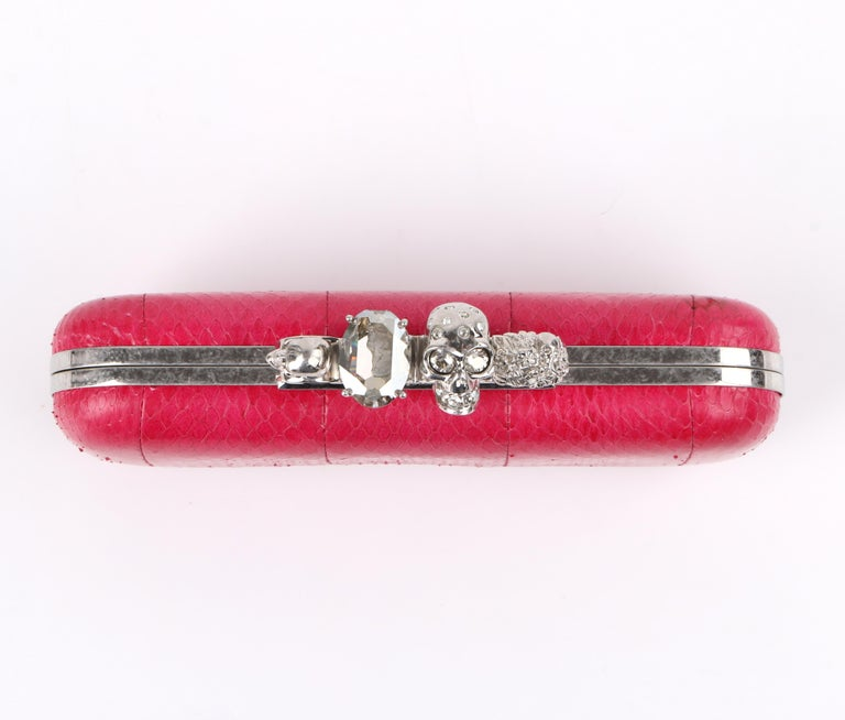 ALEXANDER McQUEEN Fuchsia Pink Python Crystal Knuckle-Duster Box Clutch  For Sale 2