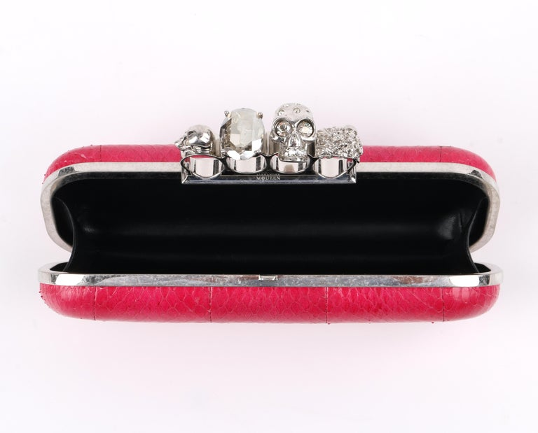ALEXANDER McQUEEN Fuchsia Pink Python Crystal Knuckle-Duster Box Clutch  For Sale 4
