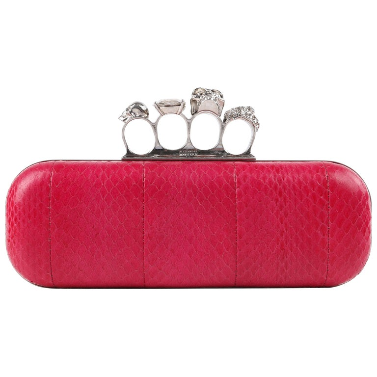 ALEXANDER McQUEEN Fuchsia Pink Python Crystal Knuckle-Duster Box Clutch  For Sale