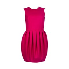 ALEXANDER MCQUEEN fuchsia pink wool PLEATED BALLOON Dress 40
