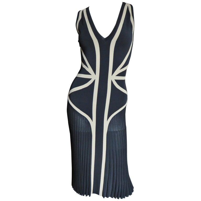 Alexander McQueen Geometric Color Block Bodycon Dress For Sale