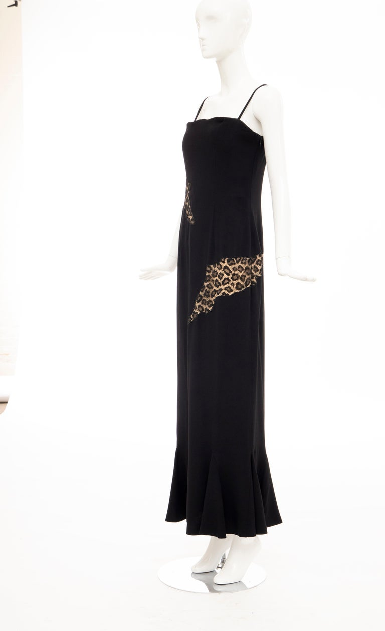 Alexander McQueen Givenchy Couture Black Leopard Lace Evening Dress, Fall 1997 For Sale 7