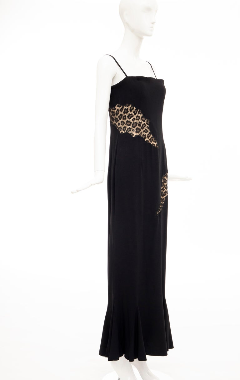 Women's Alexander McQueen Givenchy Couture Black Leopard Lace Evening Dress, Fall 1997 For Sale