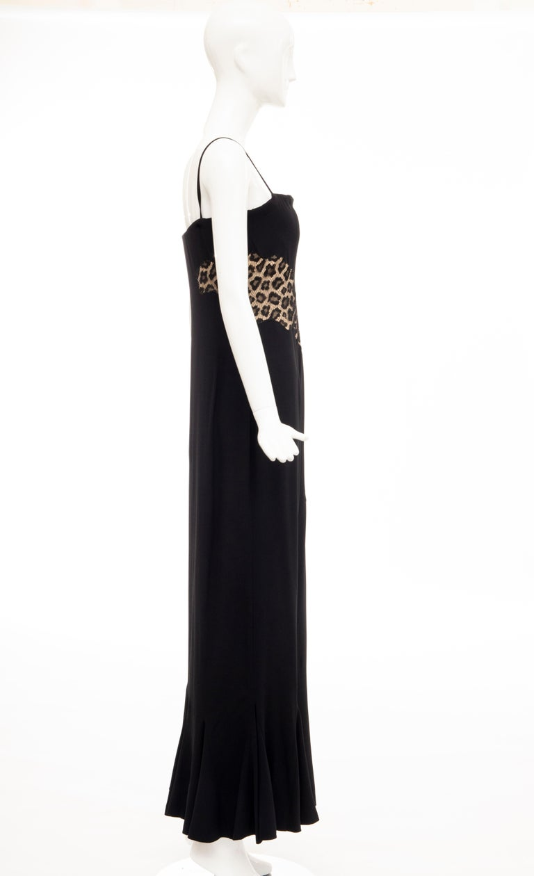 Alexander McQueen Givenchy Couture Black Leopard Lace Evening Dress, Fall 1997 For Sale 1