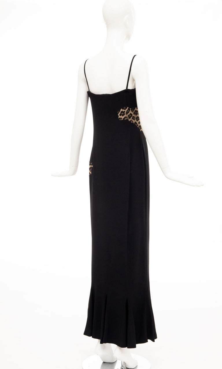 Alexander McQueen Givenchy Couture Black Leopard Lace Evening Dress, Fall 1997 For Sale 2