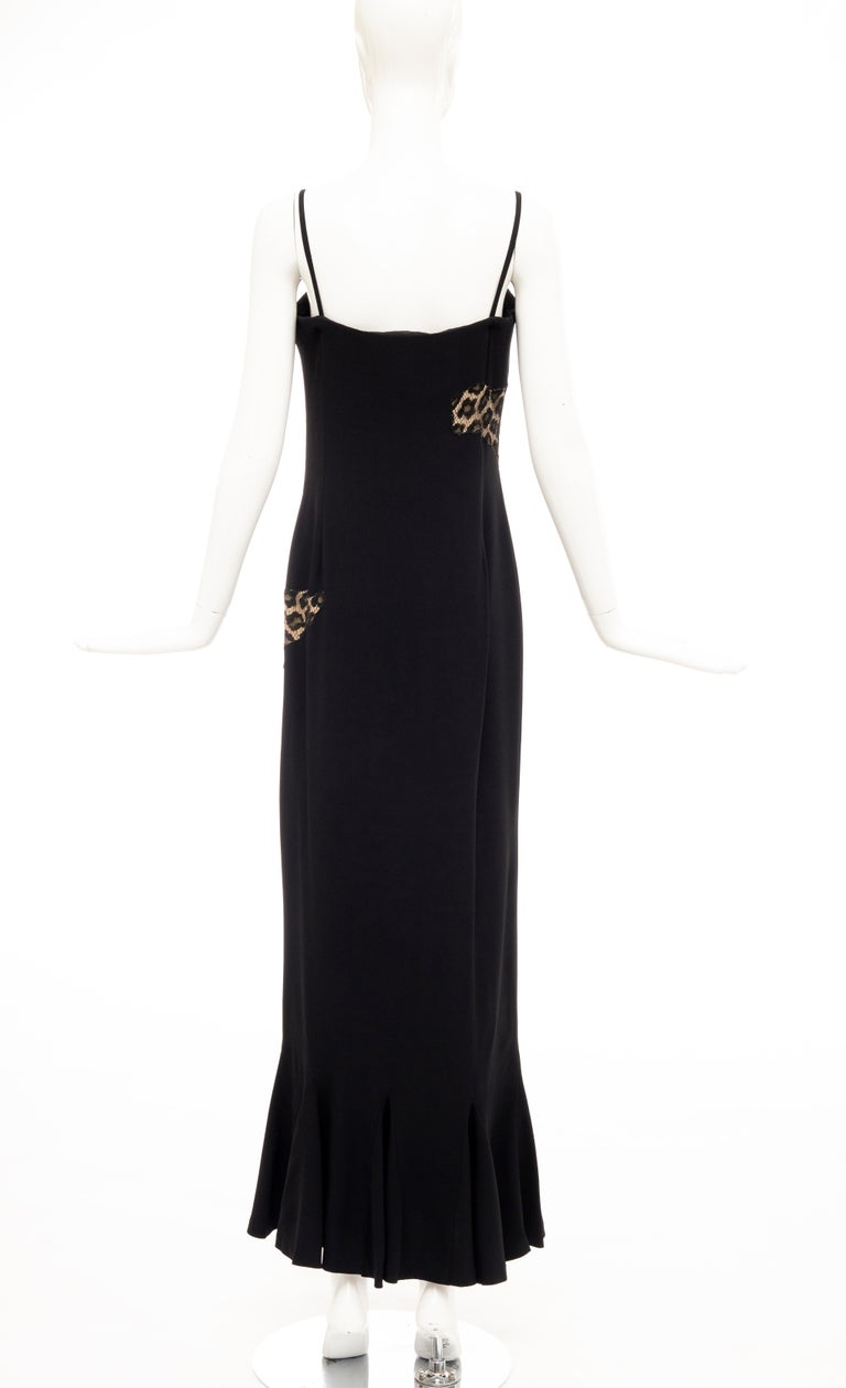 Alexander McQueen Givenchy Couture Black Leopard Lace Evening Dress, Fall 1997 For Sale 3