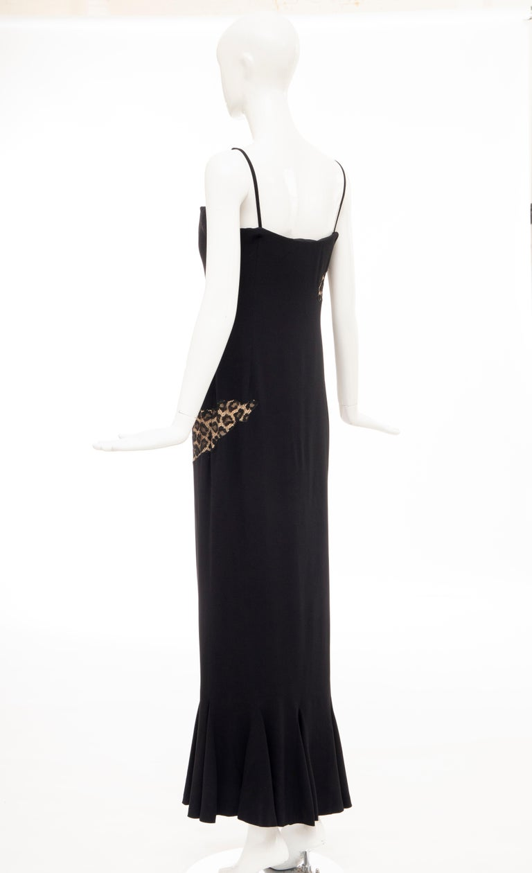 Alexander McQueen Givenchy Couture Black Leopard Lace Evening Dress, Fall 1997 For Sale 4