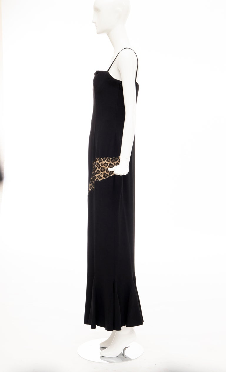 Alexander McQueen Givenchy Couture Black Leopard Lace Evening Dress, Fall 1997 For Sale 5