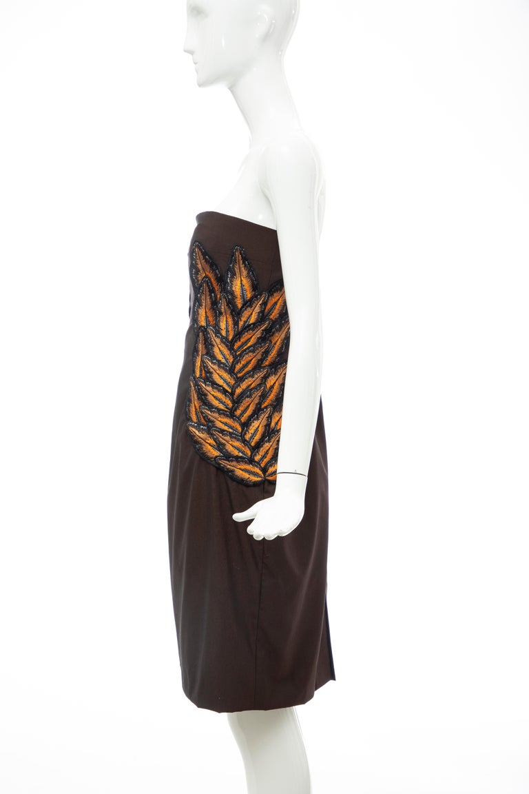 Alexander McQueen Givenchy Couture Strapless Wool Embroidered Dress, Spring 1998 For Sale 5