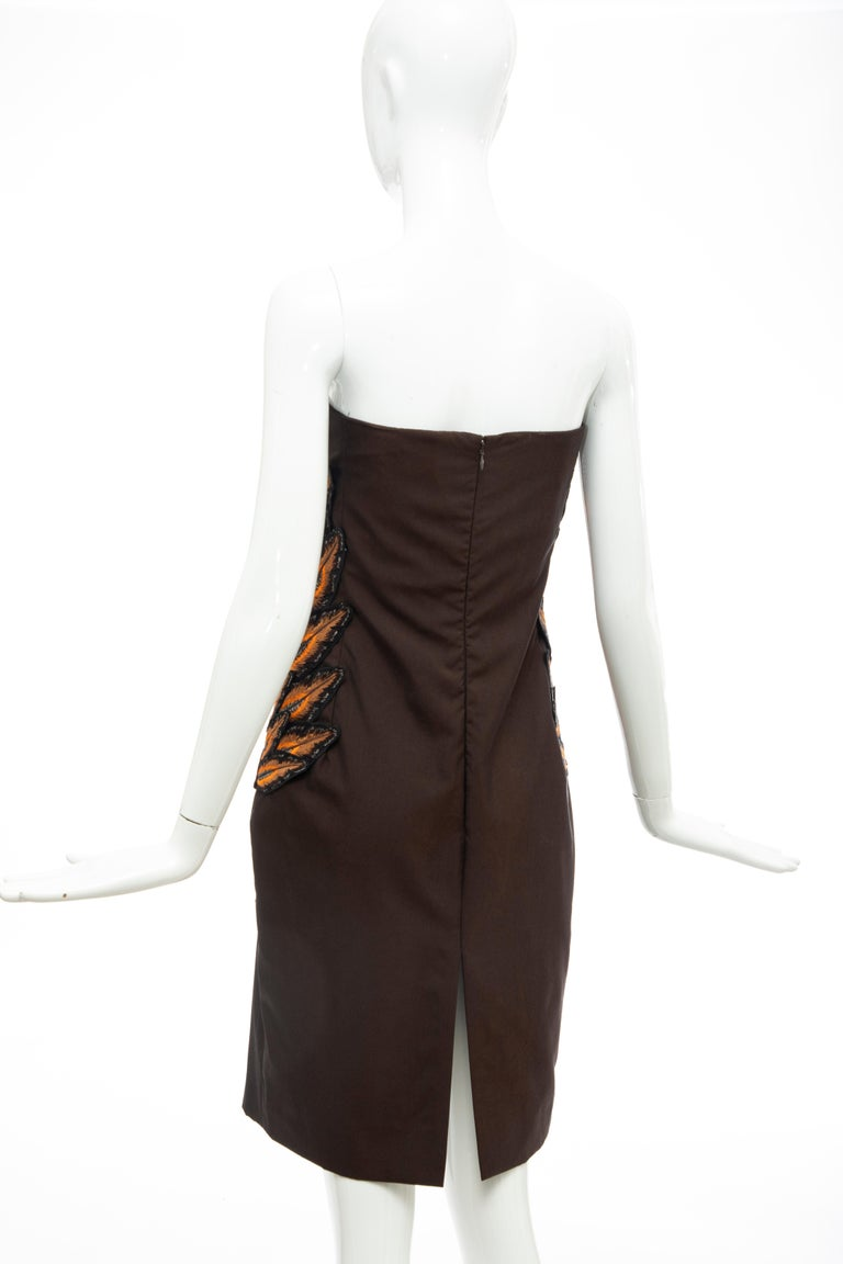 Alexander McQueen Givenchy Couture Strapless Wool Embroidered Dress, Spring 1998 For Sale 7