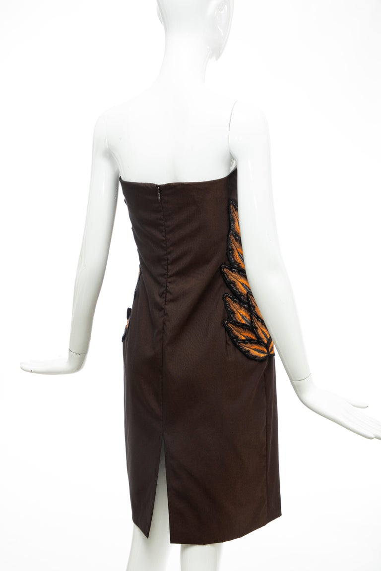 Alexander McQueen Givenchy Couture Strapless Wool Embroidered Dress, Spring 1998 For Sale 8