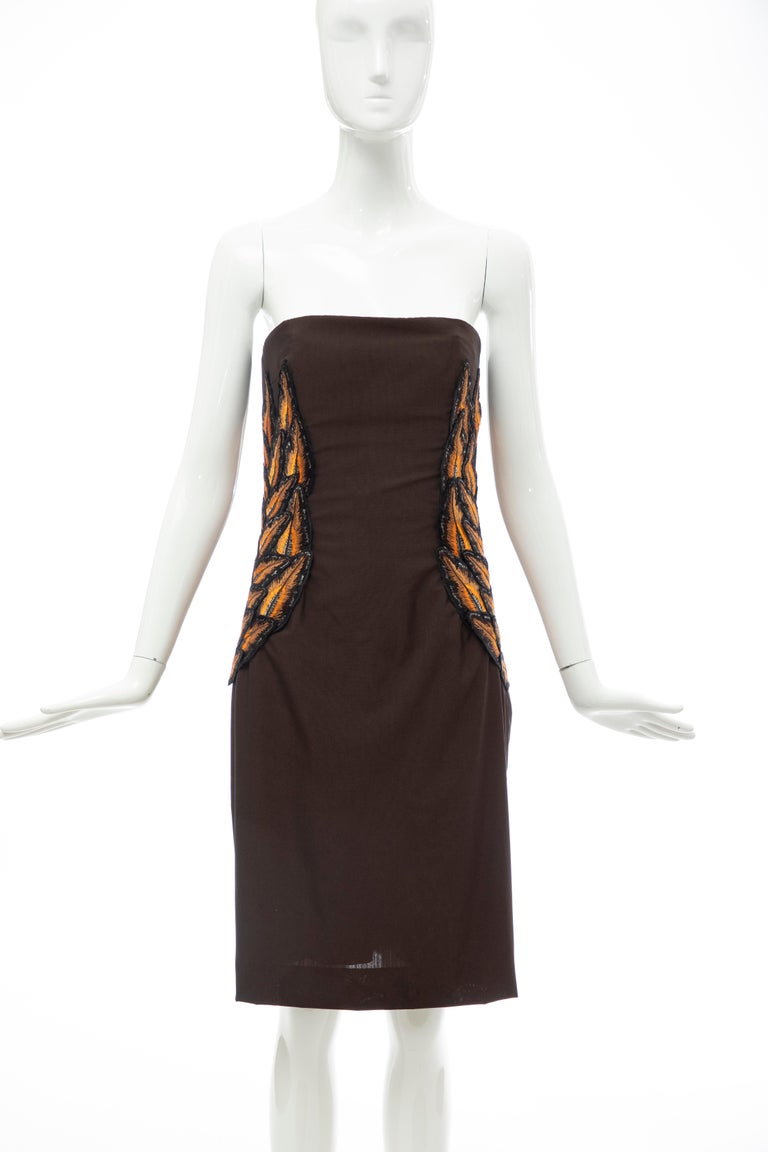 Black Alexander McQueen Givenchy Couture Strapless Wool Embroidered Dress, Spring 1998 For Sale