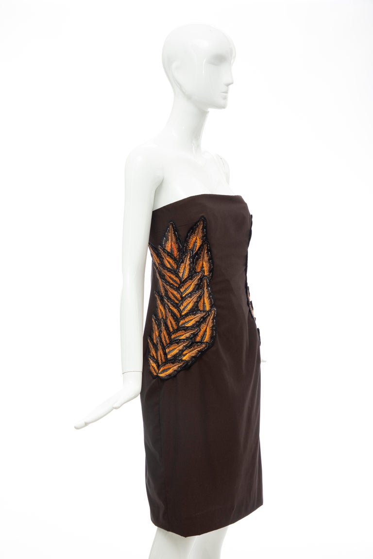Alexander McQueen Givenchy Couture Strapless Wool Embroidered Dress, Spring 1998 In Good Condition For Sale In Cincinnati, OH