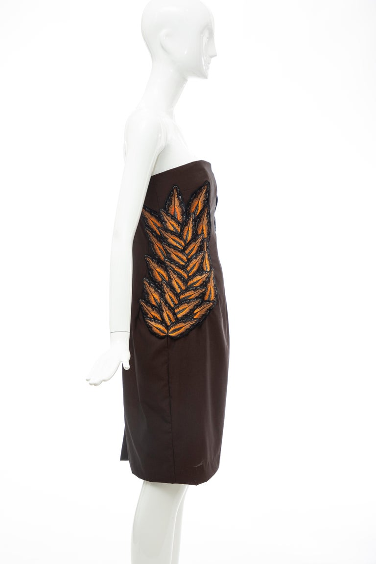 Alexander McQueen Givenchy Couture Strapless Wool Embroidered Dress, Spring 1998 For Sale 1