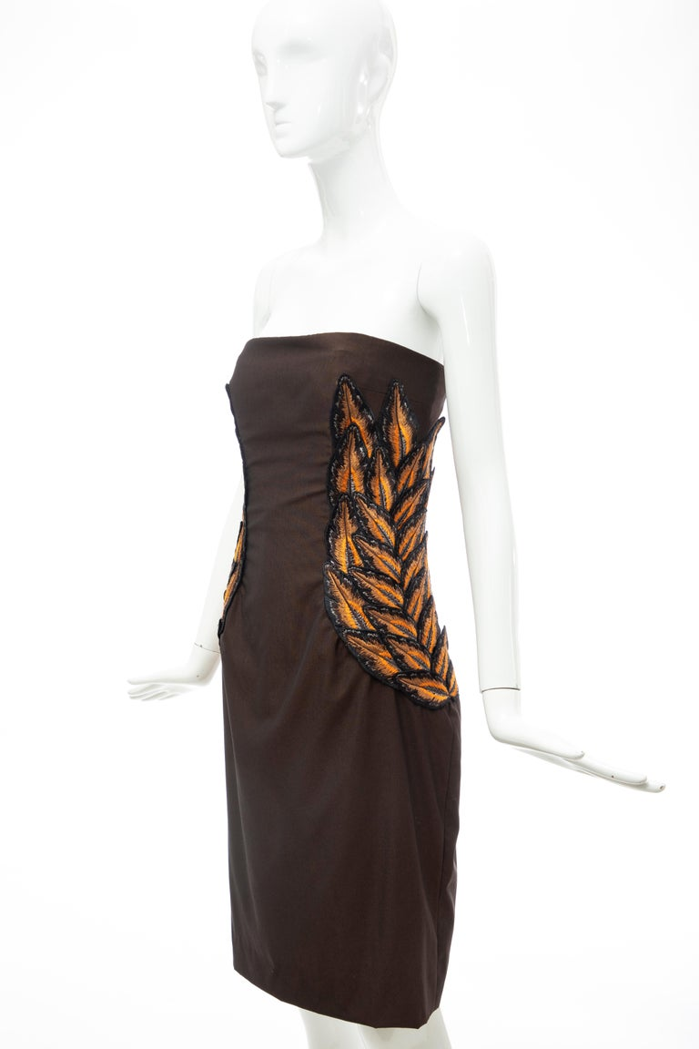 Alexander McQueen Givenchy Couture Strapless Wool Embroidered Dress, Spring 1998 For Sale 3