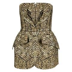 Alexander McQueen Gold and Black Honeycomb Pattern Strapless Corset Top m