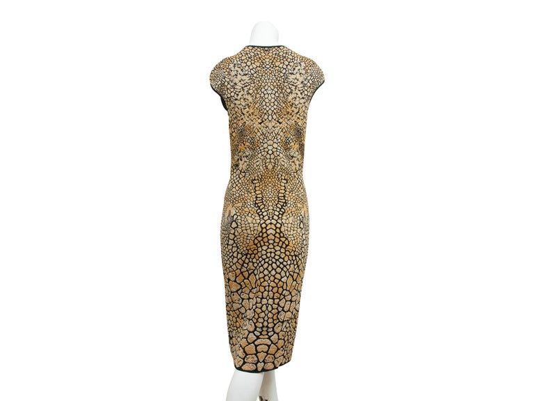 Brown Alexander McQueen Gold & Black Animal Sheath Dress For Sale