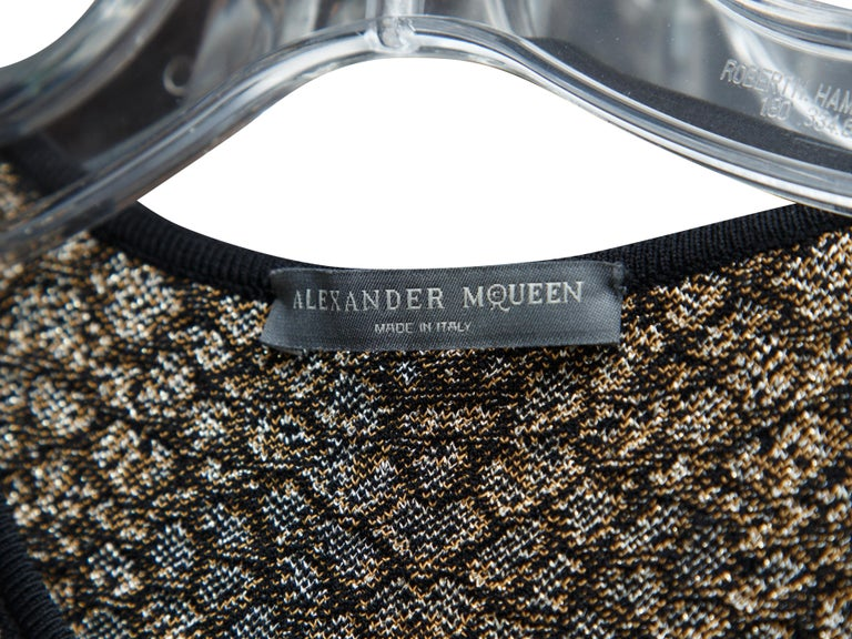 Alexander McQueen Gold & Black Animal Sheath Dress In Good Condition For Sale In New York, NY