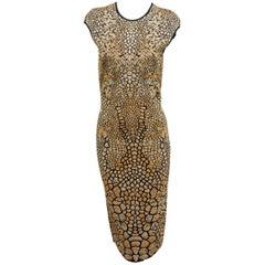 Alexander McQueen Gold & Black Animal Sheath Dress