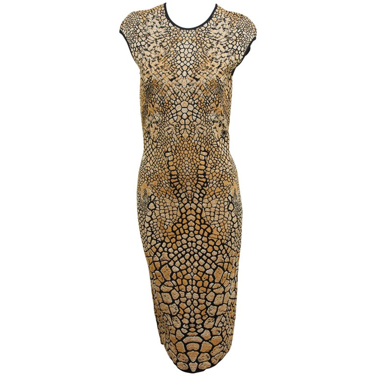 Alexander McQueen Gold & Black Animal Sheath Dress For Sale