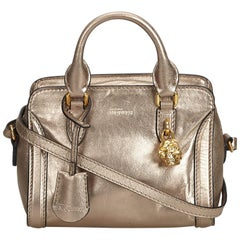 Alexander Mcqueen Gold Calf Leather Small Skull Padlock Satchel Italy