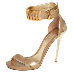 Alexander McQueen Gold Leather Ankle Cuff Open Toe Sandals Size 39.5