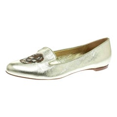 Alexander McQueen Gold Leather Sequin Skull Ballet Loafer Flats Size 39