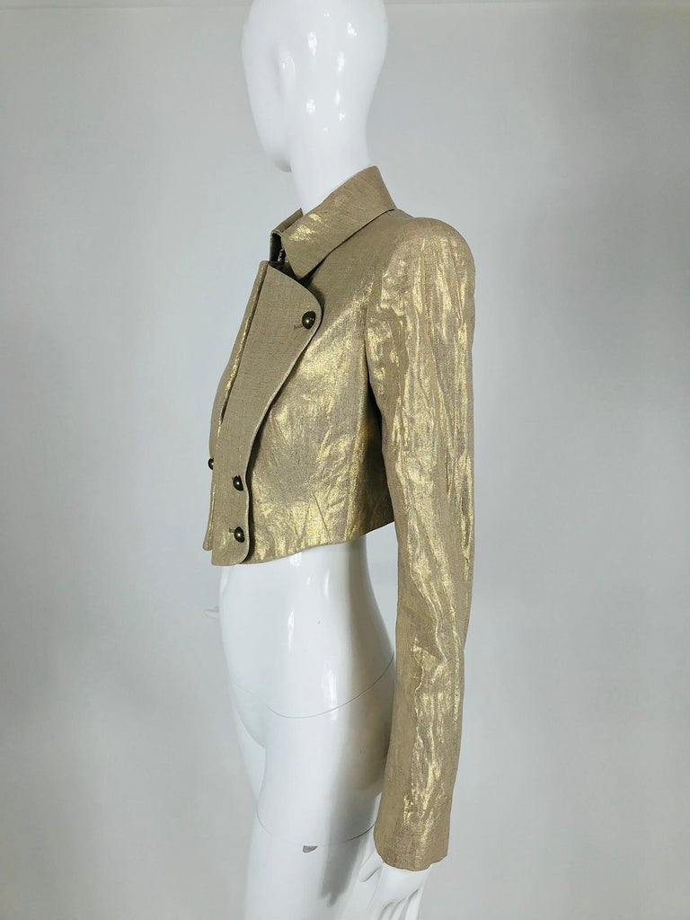 Alexander McQueen Gold Linen Cropped Military Jacket For Sale 6
