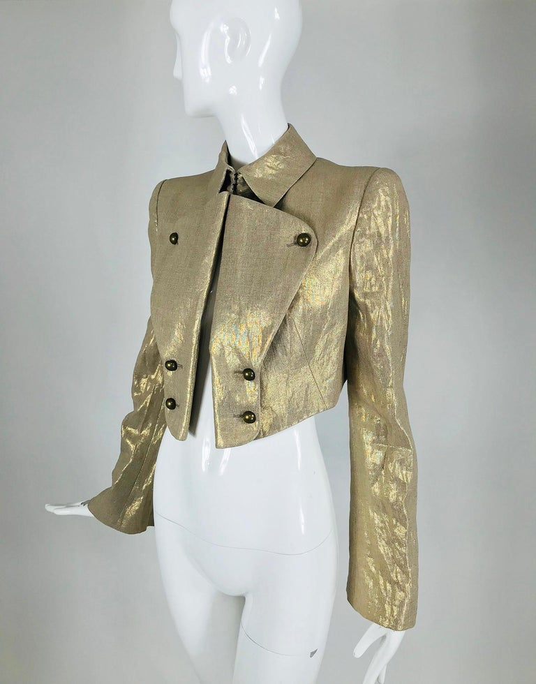 Alexander McQueen Gold Linen Cropped Military Jacket For Sale 7