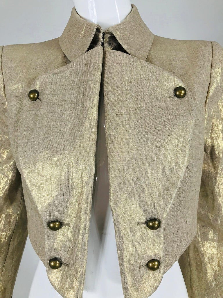 Alexander McQueen Gold Linen Cropped Military Jacket For Sale 9