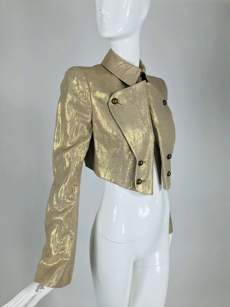 Alexander McQueen Gold Linen Cropped Military Jacket In Excellent Condition For Sale In West Palm Beach, FL
