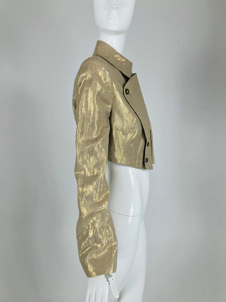 Alexander McQueen Gold Linen Cropped Military Jacket For Sale 1