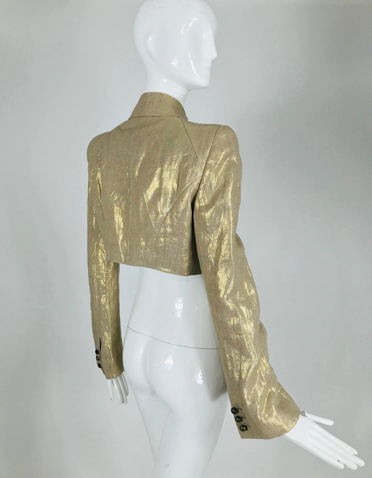Alexander McQueen Gold Linen Cropped Military Jacket For Sale 2