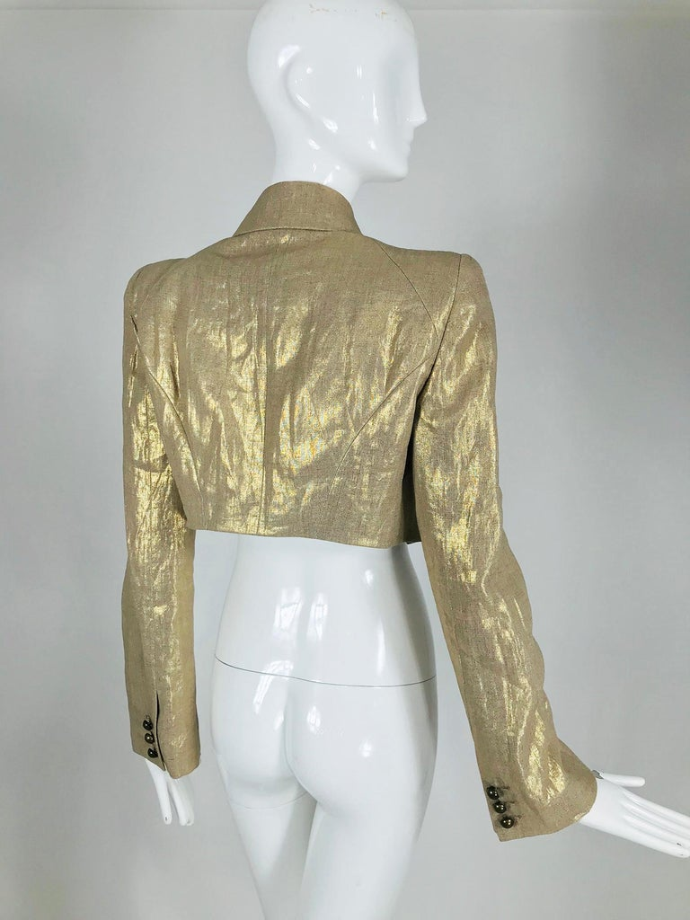 Alexander McQueen Gold Linen Cropped Military Jacket For Sale 3