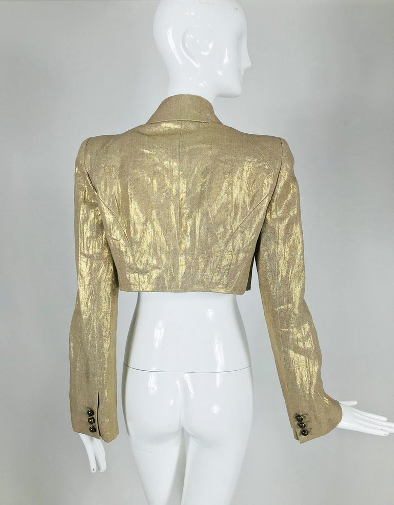 Alexander McQueen Gold Linen Cropped Military Jacket For Sale 4