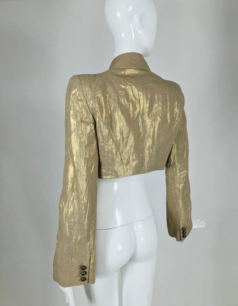 Alexander McQueen Gold Linen Cropped Military Jacket For Sale 5
