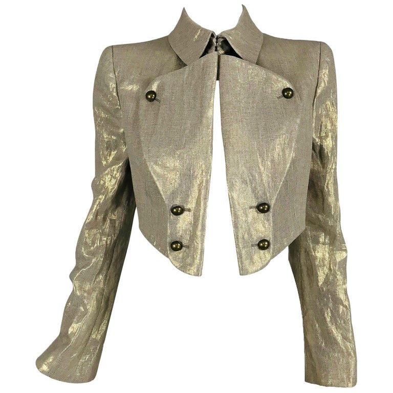 Alexander McQueen Gold Linen Cropped Military Jacket For Sale