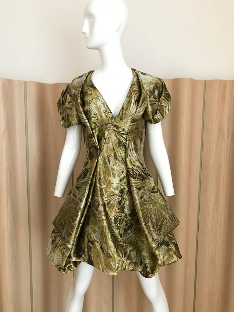2010 Alexander McQueen Gold and black screen printed medieval, baroque inspired print dress. In excellent condition. Marked size 42 Fit size 4 US