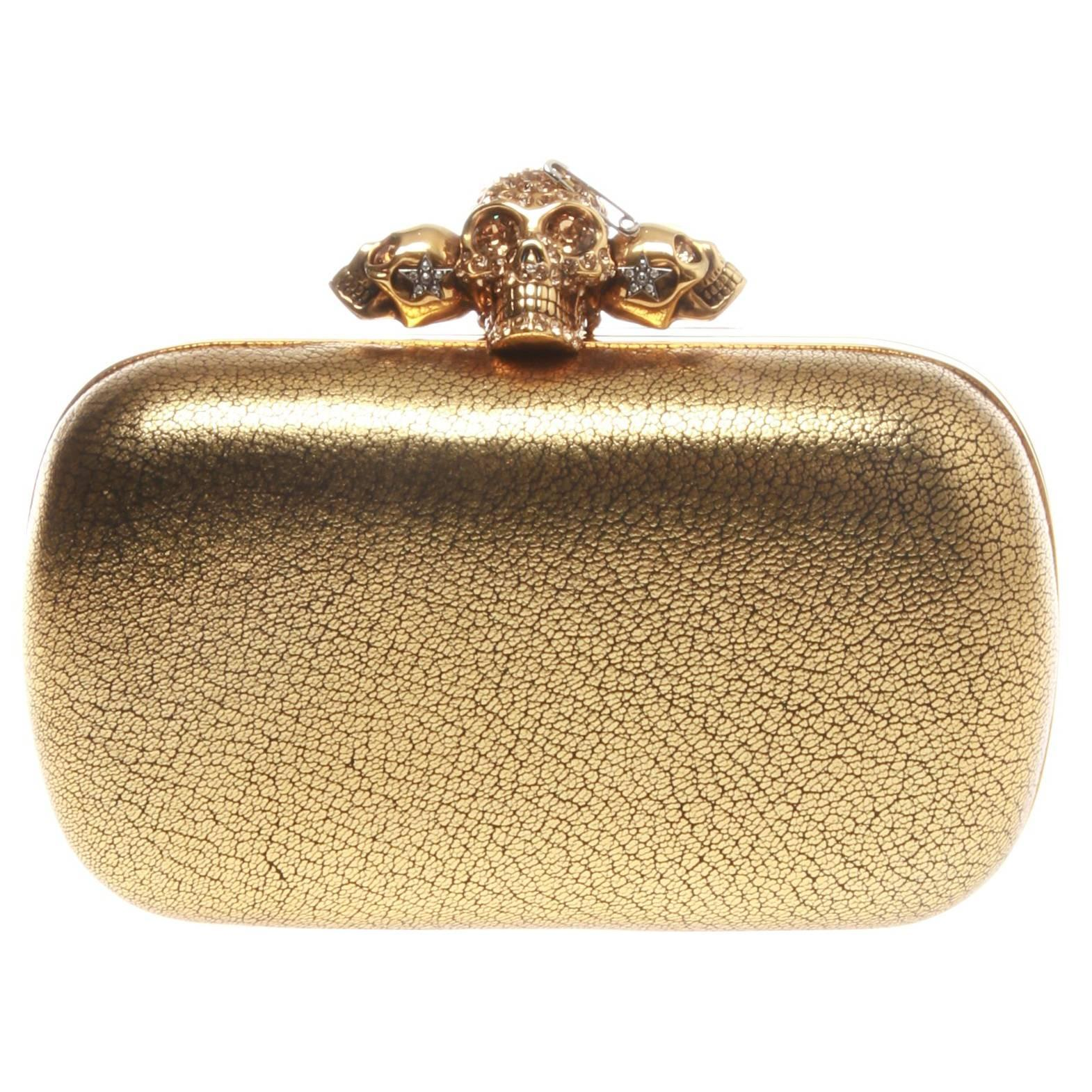 Mcqueen Clutch Sale Box Metallic Skull For Grained At Gold Alexander oBexrdC