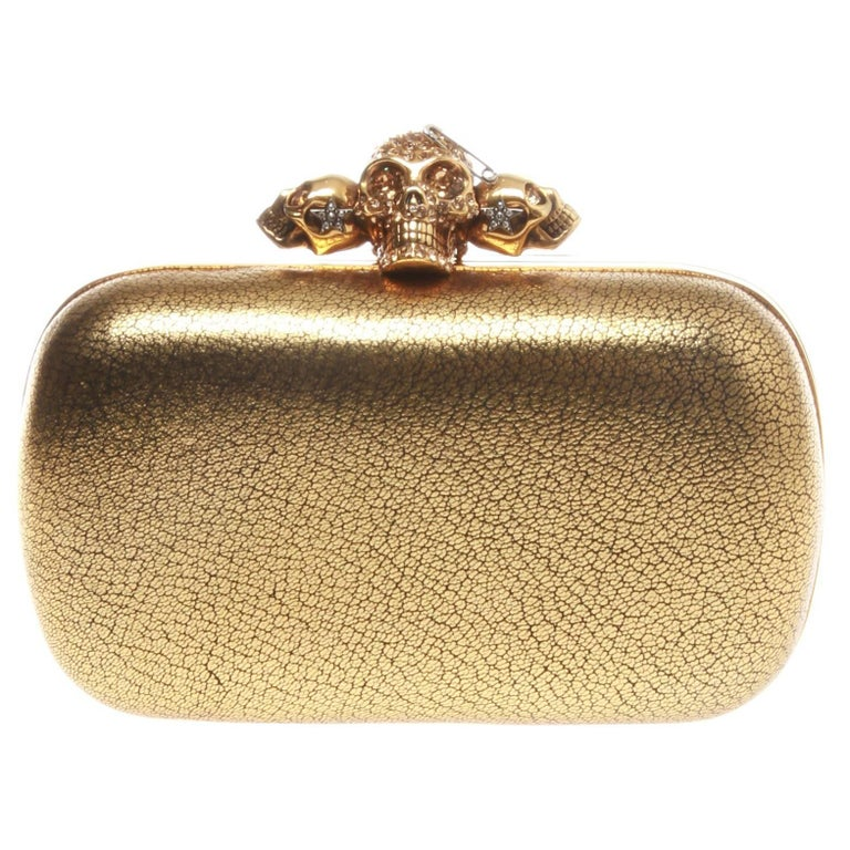 Alexander McQueen Gold Metallic Grained Skull Box Clutch