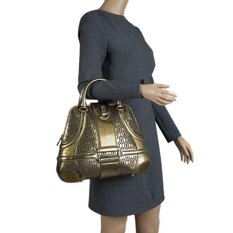 Black Alexander Mcqueen Gold Perforated Patent Leather Novak Satchel For Sale