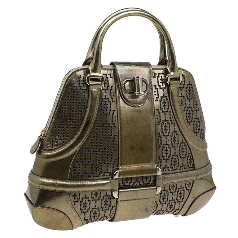Alexander Mcqueen Gold Perforated Patent Leather Novak Satchel In Good Condition For Sale In Dubai, AE