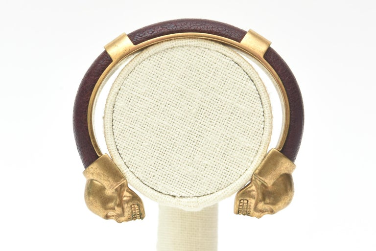 Alexander McQueen Gold Plated and Leather Skull Bracelet 5