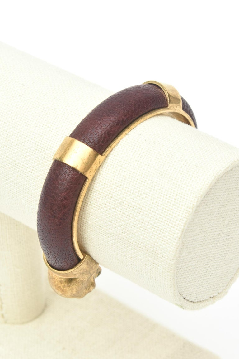 Alexander McQueen Gold Plated and Leather Skull Bracelet 6