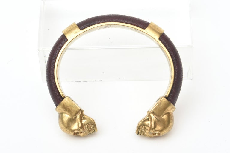 Alexander McQueen Gold Plated and Leather Skull Bracelet 7