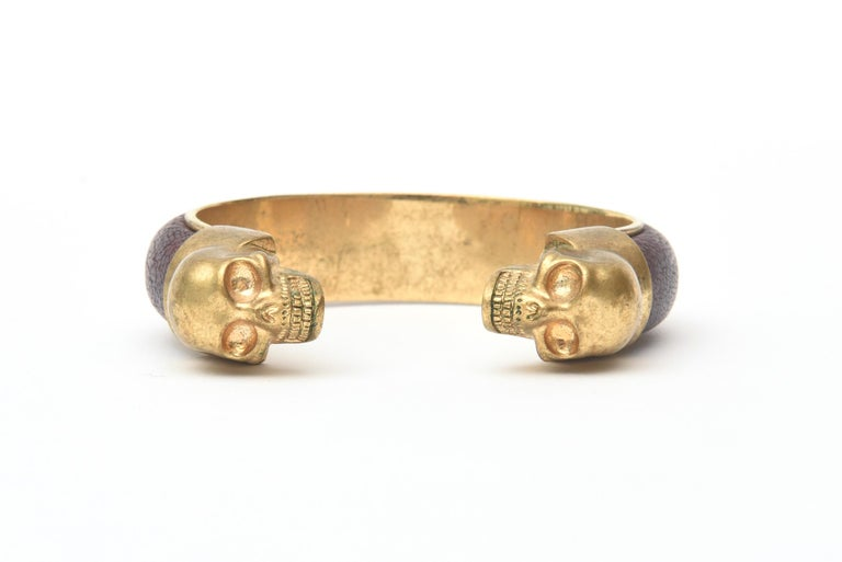 Alexander McQueen Gold Plated and Leather Skull Bracelet In Good Condition In North Miami, FL