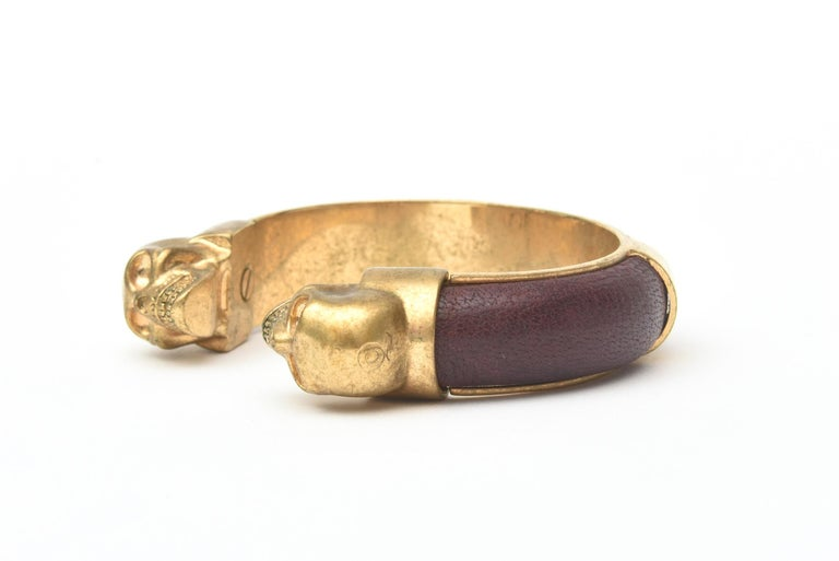 Women's Alexander McQueen Gold Plated and Leather Skull Bracelet